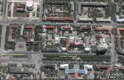 Схема корпусов ВолгГТУ (ГУК, ЛК, А, Б, Общежитие))